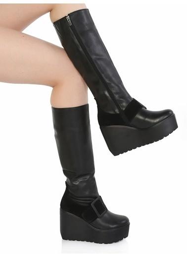 Derigo Platform Dolgu Topuklu Çizme Siyah